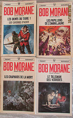 Lot de 4 romans Bob Morane collection Pocket Marabout H.Vernes