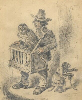 Portrait of a Man with Animals - 19th Century Pencil