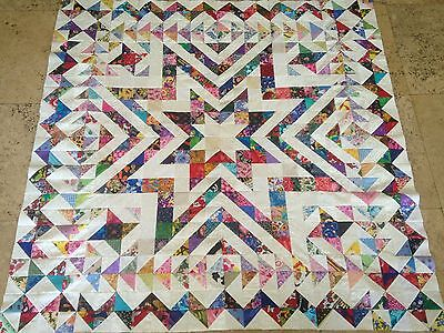 Amasing Scrappy STAR Quilt Top  made in USA 100% Cotton Fabrics