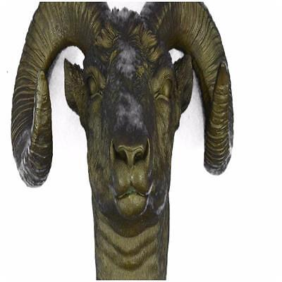 HandcraftedCollectible Detailed Extra Ram Head With Antlers Trendy Bronze