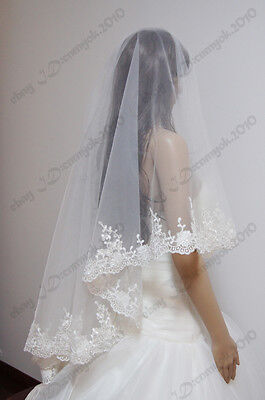 New lace wedding veils one Layer bridal accessories veil no comb