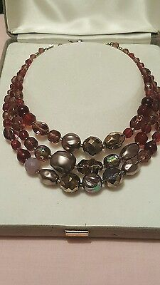 Gorgeous Vintage 3 Strand Purple Glass Beaded Necklace