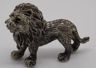 Vintage Solid Silver Magnificent Lion Miniature - Stamped - Made in Italy