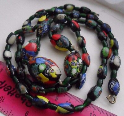 Vintage art deco costume jewellery millefiori glass murano beads long necklace