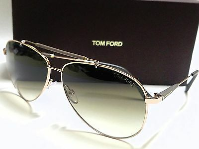 Authentic TOM FORD RICK FT0378 28J Rose Gold/Brown Aviator 62mm SUNGLASSES
