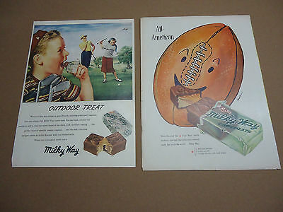 Set of 2 Vintage 1950's Milky Way Chocolate Candy Ads Advertising