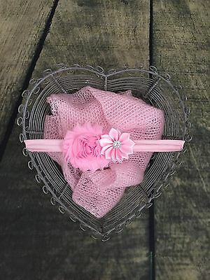 Newborn photo props girls outfit mohair wrap with headband pink