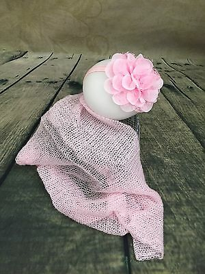 Sprogster Newborn Baby photo props outfit mohair wrap with large flower headband