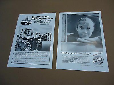 Set of 2 Vintage Amoco American Oil Company Gas Ads Advertising