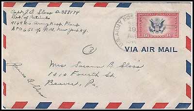 U.S.A. WWII scarce CE2 tied Air Mail Special Delivery from APO 651 England 1944