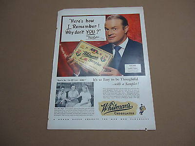 Vintage 1950's Whitman's Chocolate Candy Bob Hope Ad Advertising