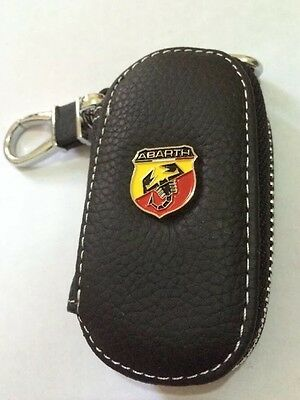Abarth Leather Key Cover Case Holder Ring Chain Fob !