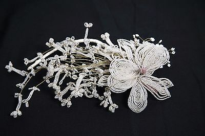 Antique Vtg Floral Stem French Hand Made Beaded Glass Seed Beads Flower Wedding