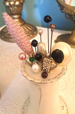 Vintage Hat  Pins And Hat Pin Holder