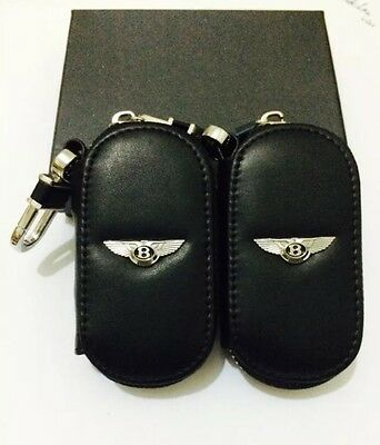 Bentley Genuine Leather Key Cover Case Holder Ring Chain Fob !