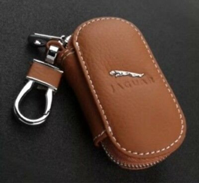 Jaguar Leather Key Cover Case Holder Ring Chain Fob Small Brown!