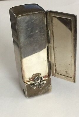 Vtg Antique Sterling Silver Lipstick Case Holder With Mirror 61