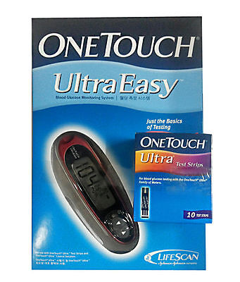One Touch Ultra Easy Glucometer Johnson & Johnson With10 FREE Test Strips RG106