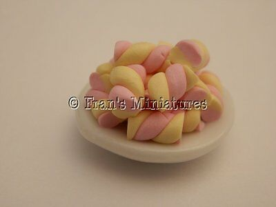 Dolls house food: Dish of marshmallow flumps  -By Fran