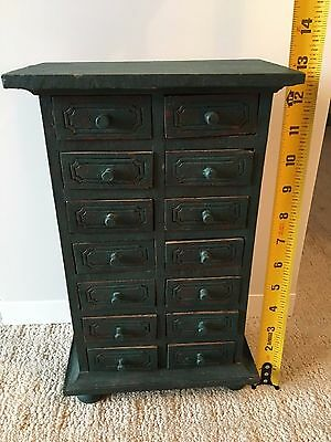 Antique 14 Drawer Spice Box Cabinet, Apothecary chest. Painted wood.
