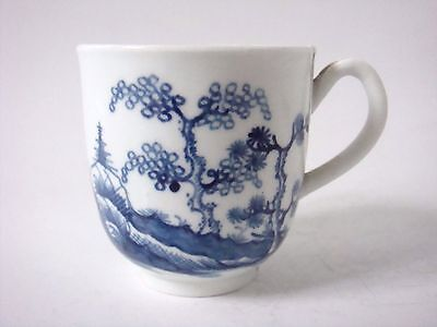 Worcester Porcelain Early Blue And White Coffee Cup With House & Trees C1775