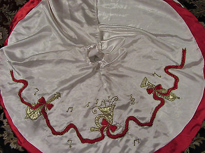 "Vintage Red & White Satin Christmas Tree Skirt 46"" 3 Musical Instruments India"
