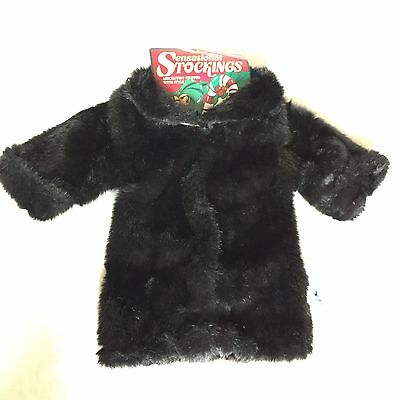 Vintage CAROUSEL by GUY Black Faux Fur Coat Unique Christmas Stocking to Stuff