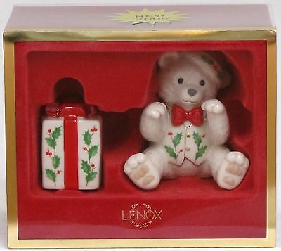 Lenox 2004 Holiday Teddy Bear and Present Salt & Pepper Shakers Christmas Gift