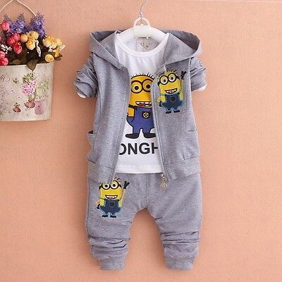 NEW!Boy MINION 3 pcs clothing set tracksuit outfit (top+jacket+pants) 2-3 years