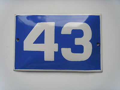 "OLD BLUE PORCELAIN ENAMEL NUMBER 43 SIGN - 5,9"" by 3,7""  Vintage"