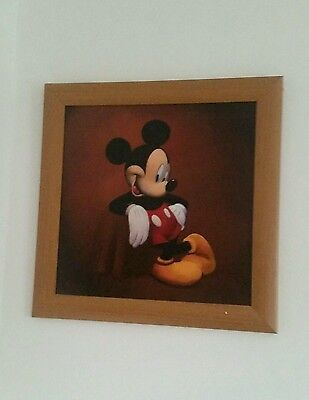COLLECTOR Disney Mickey Mouse Hanging Pitcure Frame Photo wooden Painted  16x16""