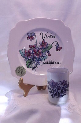 "Royal Staffordshire ""violet Faithfulness"" 8"" Square Decorative Plate And Candle"