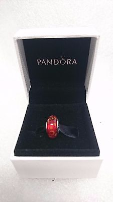 Pandora Genuine Authentic Red Bubble Murano Glass Charm Bead with gift box