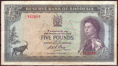 Rhodesia 5 Pound Note 1966 in Extra fine Condition, Rare in this condition!