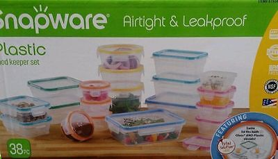 SNAPWARE Plastic Food Storage Containers 38 Pc BPA FREE AirTight Leakproof Set