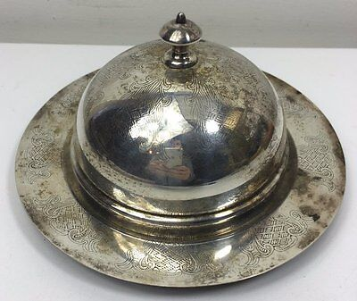 Vintage Silver Plate 3 Pce Dome Top Butter Preserve Glass Dish With Lid