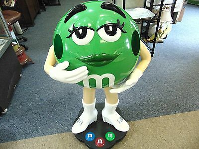 """M&M Green Candy Character Display Prop 39"""" Tall Wheels"""