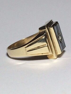 Vintage 9 CT Yellow GOLD Onyx Diamond and Mother of Pearl Mens Ring