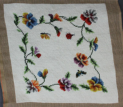 Finished Handmade Needlepoint Tapestry Butterfly Flowers Vines Pillow Chair