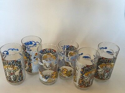 Set Of Six Miss Piggy 1981 Collector Series Glasses
