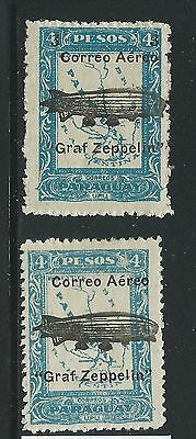 Paraguay  Zeppelin Overprint Pair  Mh See Both Scans For Condition
