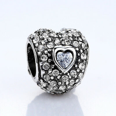 DIY European Sterling Silver Plated Love Heart Charm Beads pave with CZ Stones