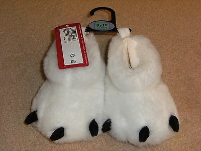 'm&s Sparkle' Kids White Animal Feet Slippers,size 6-12Mths,bnwt !