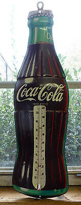 """Vtg 1950's Coca-Cola Metal Sign Coke Bottle Thermometer Marked Robertson 16.5"""""""