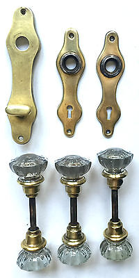 """6 Antique Ornate 2"""" Glass Door Knobs With Brass Collars, Spindels And Backplates"""