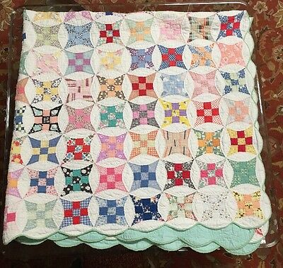 Vtg Hand Stitched Glorified Improved Nine Patch Quilt Feed Sack Fabric