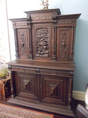 FRENCH CARVED BUFFET DRESSER CABINET SIDEBOARD WALNUT VICTORIAN HUNTING 188cm