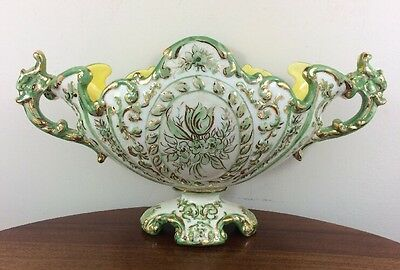 """Stunning 15"""" Majolica Console Bowl, Green And Gold"""