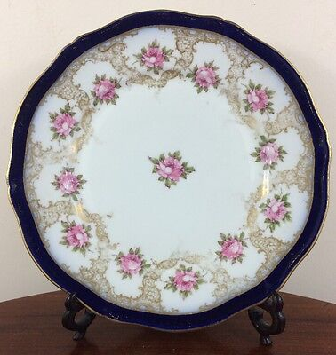 Striking Antique Theodore Haviland Plate, Cobalt, Pink Roses & Gold Tracery