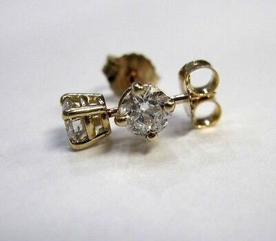 Round 1/2 CT Diamond Stud Earrings 14K Gold 4 Prong GH Color SI3-I1 Clarity